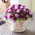 3 x Bouquet Rose Artificial Silk Flowers Home Garden Wedding Party Floral Decor (PURPLE