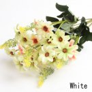 3 X Bouquet Artificial Cineraria Silk Flowers Leaf Home Party Wedding Garden Decor (COLOR WHITE
