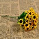 1 Bunch 30 Heads Artificial Sunflowers Silk Daisy Bouquet Flowers Home Decor (yellow