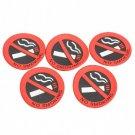 5PCS Rubber No Smoking Sign Car Vehicle Truck Sticker