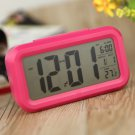 Digital LCD Snooze Electronic Alarm Clock W LED Backlight Light Control Rose Red