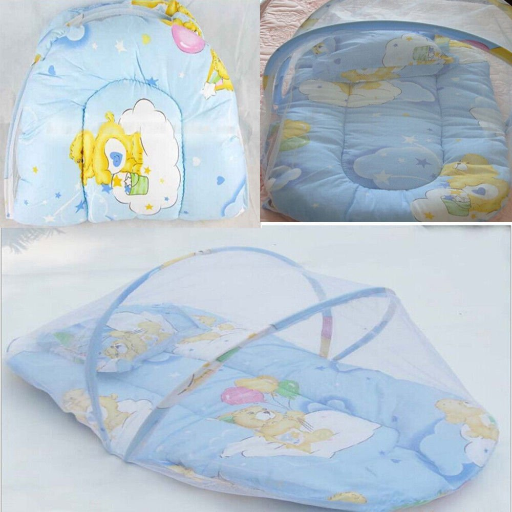 Portable Baby Bed Crib Folding Mosquito Net Infant Cushion
