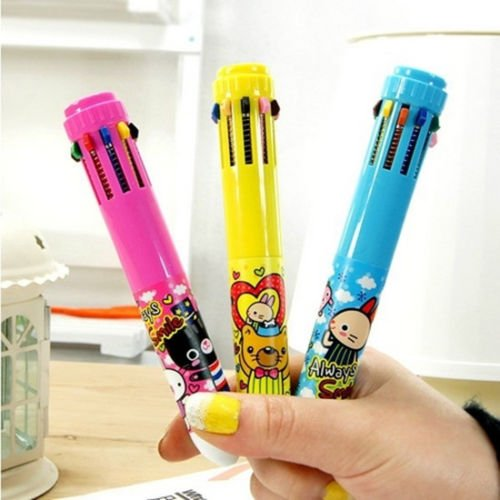10 Colour Changable Retractable Writing Stationery Multicolour Ballpoint Pen