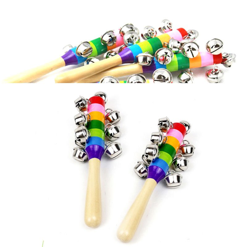 Rainbow Musical Instrument Toy Wooden Hand Jingle Ring