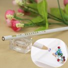 4pcs Gem Crystal Rhinestones Picker Pencil Nail Art Craft Tool Wax White Pen New