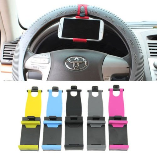 Universal Car Steering Wheel Bike Clip Mount Holder For iphone Phone Samsung GPS(COLOR BLUE