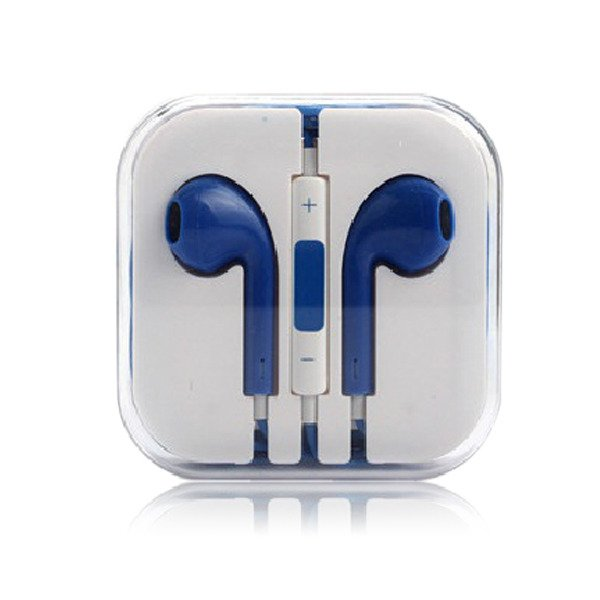 3.5mm Earphone Earbud Headset/Remote Mic For Apple iPhone  volume control (BLUE