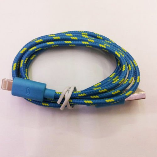8pin Braided Usb Data Sync Cable Cord Fit for iphone5s 5c IOS 7.1 (BLUE