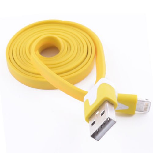 Noodle Flat Data Sync Charger For iPhone 5 5S 5C iPod Touch 5 Nano 7 Cord Cable(YELLOW