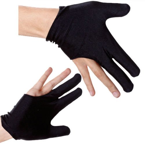 10x Nylon 3 Finger Gloves Shooter Pool Billiards Cue Glove Black Indoor Game Kit