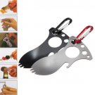 1X Multi-function Pocket Bottle Opener Spork Spoon Screwdriver Camping Survival Kit