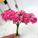 144PCS Artificial Paper Rose Flower Buds Mini Bouquet Party Wedding Decoration(COLOR HOT PINK