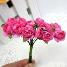 144PCS Artificial Paper Rose Flower Buds Mini Bouquet Party Wedding Decoration(COLOR HOT PINK