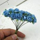 144PCS Artificial Paper Rose Flower Buds Mini Bouquet Party Wedding Decoration(COLOR BLUE