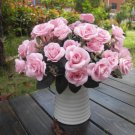 Artificial 1 Bouquet / 12 Heads Silk Rose Flower Leaf Wedding Party Bridal Decor(LIGHT PINK