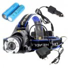 2000Lm CREE XM-L XML T6 LED Zoomable Headlamp Headlight Torch 2x 18650 + Charger