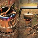Light Weight Wood Gas Backpacking Emergency Survival Burning Camping Stove + Bag