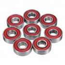 NEW 8pcs Skate Skateboard Longboard Stainless Bearings ABEC-5 608-2RS SET Red