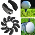 New 10 PCS Neoprene Golf Club Head Cover Wedge Iron Protective Headcover Black