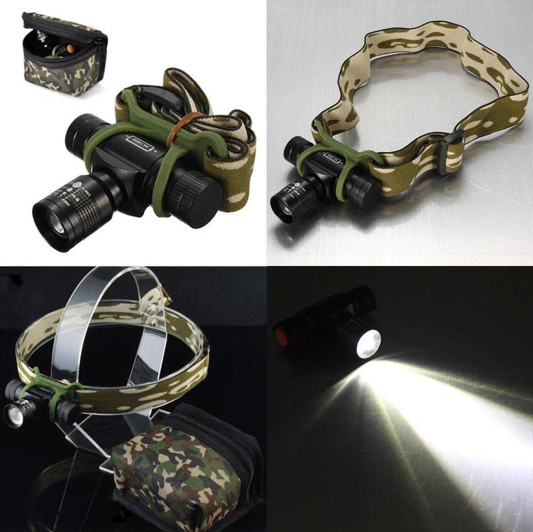 CREE Q5 300LM LED 3 Mode Zoom Zoomable Headlight Torch Light Head Lamp With Bag