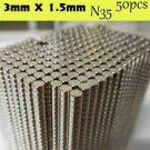 50pcs Disc Rare Earth Neodymium Super Strong Magnets 3mm x 1.5mm 1/8 N35