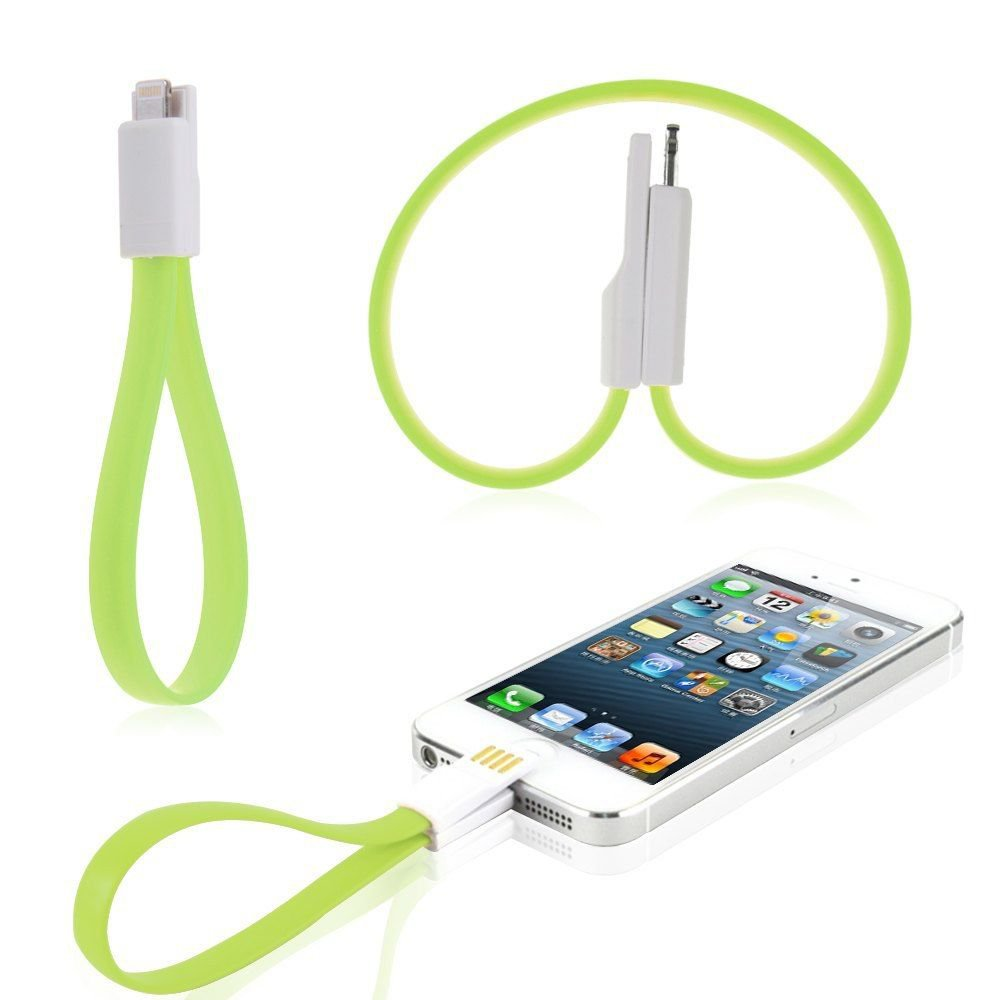 Magnet Flat Short USB Data Sync Charger Cable Cord for iPhone 6 5 5S iPod Nano7 (COLOR GREEN
