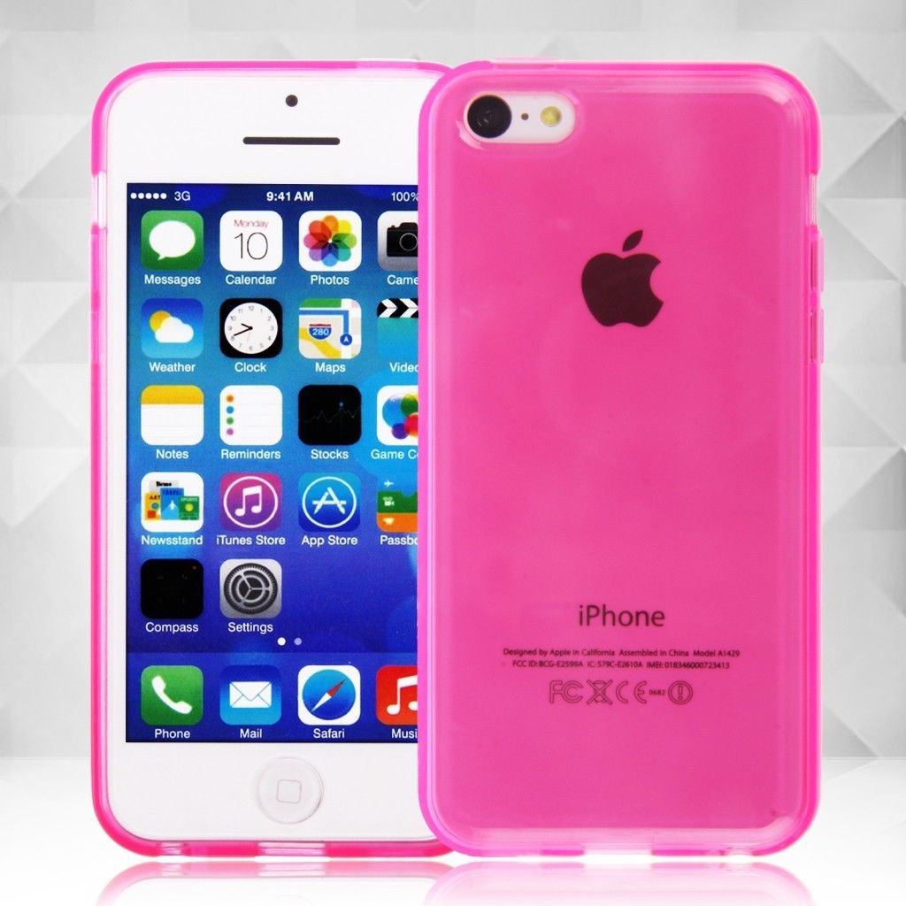Clear Jelly Color Plain TPU Gel Soft Rubber Case Cover Skin for Apple iPhone 5C( COLOR PINK