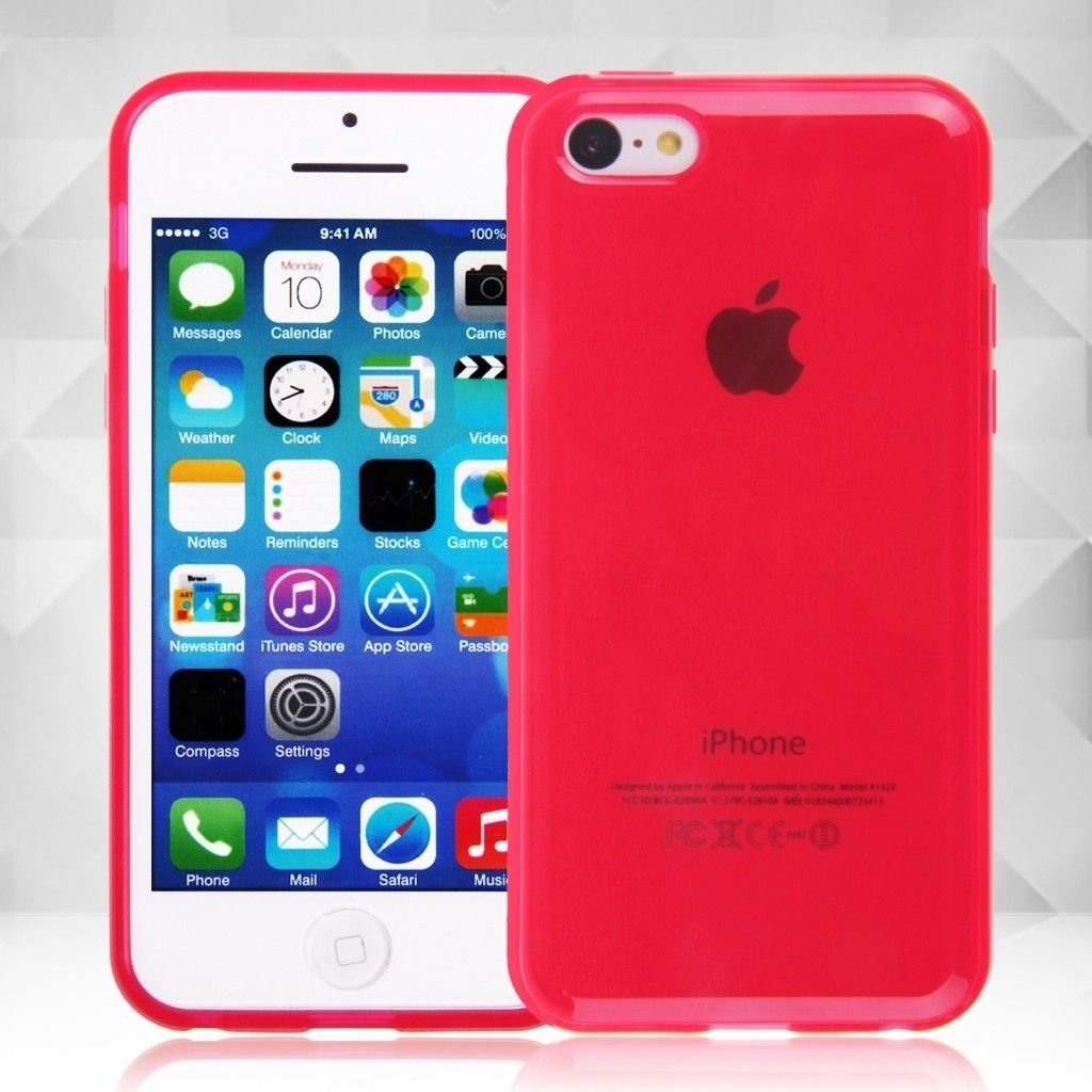 Clear Jelly Color Plain TPU Gel Soft Rubber Case Cover Skin for Apple iPhone 5C( COLOR RED