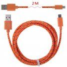 2m Hemp Rope Micro USB Charger Charging Sync Data Cable Cord fr Cell Phone(COLOR ORANGE