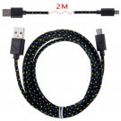 2M Hemp Rope Micro USB Charger Charging Sync Data Cable Cord fr Cell Phone(COLOR BLACK