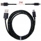 3M Hemp Rope Micro USB Charger Charging Sync Data Cable Cord fr Cell Phone(COLOR BLACK
