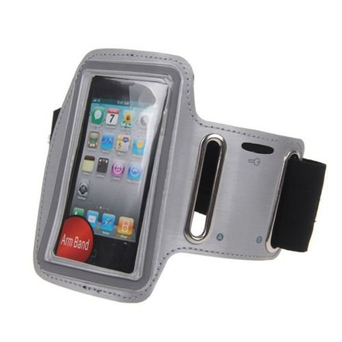 Jogging Exercise Workout Gym Running Sports Armband Case Cover For iPhone 4 4S(COLOR SILVER GREY