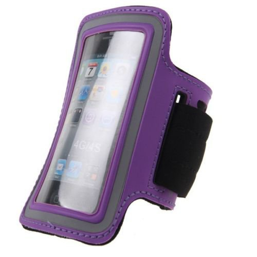 Jogging Exercise Workout Gym Running Sports Armband Case Cover For iPhone 4 4S(COLOR PURPLE