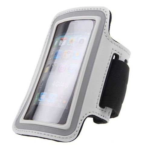 Jogging Exercise Workout Gym Running Sports Armband Case Cover For iPhone 4 4S(COLOR WHITE
