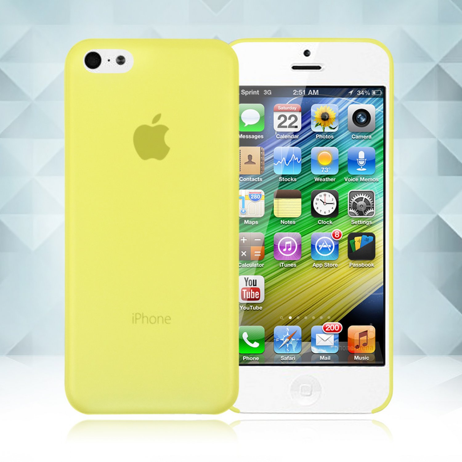 0.3mm Ultra Thin Matte Frosted Clear Soft TPU Back Case Cover Fr Apple iPhone 5C(COLOR YELLOW