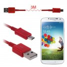 3M(10FT) Micro USB Data Sync Charger Cable Cord For Galaxy S4 S3 S2 HTC Nexus5/4 ( COLOR RED