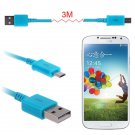 3M(10FT) Micro USB Data Sync Charger Cable Cord For Galaxy S4 S3 S2 HTC Nexus5/4 ( COLOR BLUE