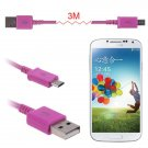 3M(10FT) Micro USB Data Sync Charger Cable Cord For Galaxy S4 S3 S2 HTC Nexus5/4 ( COLOR ROSE