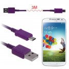 3M(10FT) Micro USB Data Sync Charger Cable Cord For Galaxy S4 S3 S2 HTC Nexus5/4 ( COLOR PURPLE