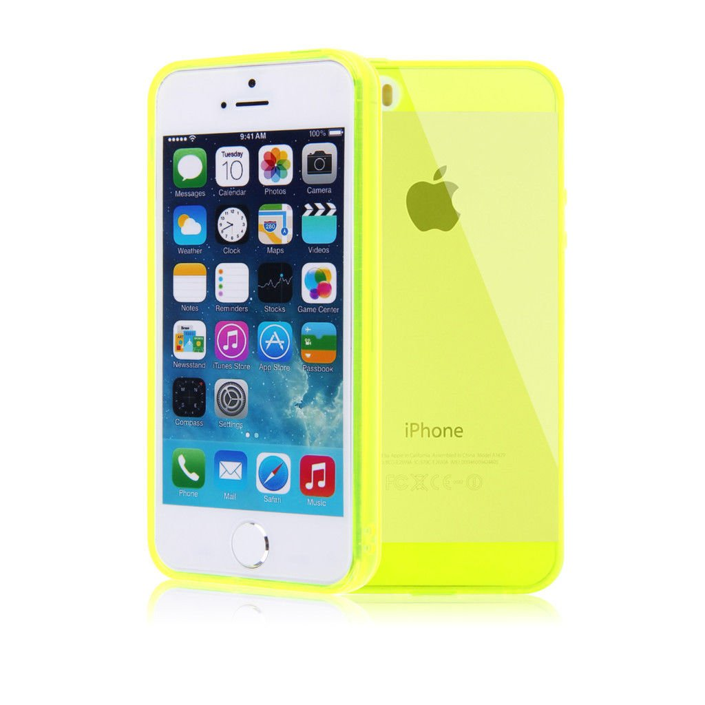 Color Slim Clear Transparent JELLY TPU Gel Soft Skin Case Cover For iPhone 5 5S ( COLOR YELLOW