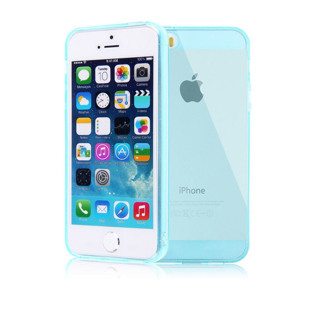 Color Slim Clear Transparent JELLY TPU Gel Soft Skin Case Cover For iPhone 5 5S ( COLOR LIGHT  BLUE