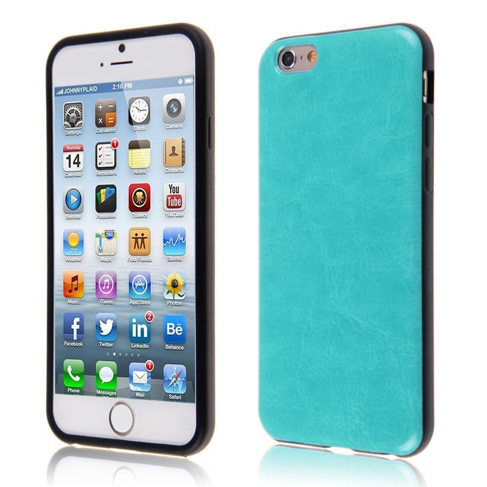 """PU Leather + TPU Four Sides Protector Cover Case Skin for iPhone6 4.7""""( COLOR TURQUOISE"""