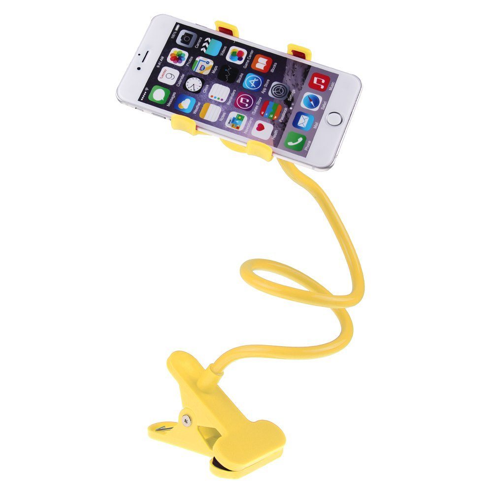 Universal Lazy Bed Desktop Car Stand Mount Holder For Cell Phone iPhone Long Arm (COLOR YELLOW