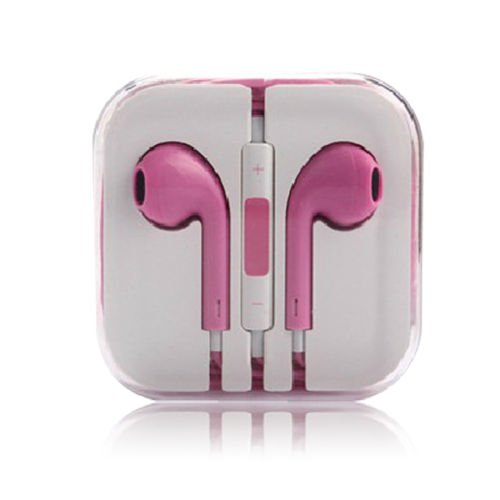 3.5mm Earphone Earbuds Headset HeadPhone w/ Remote Mic for iPhone 5 5S 5C 4G 4S (COLOR  PINK