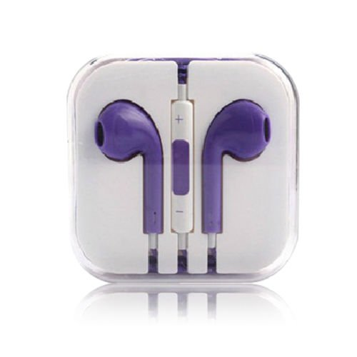 3.5mm Earphone Earbuds Headset HeadPhone w/ Remote Mic for iPhone 5 5S 5C 4G 4S (COLOR  PURPLE