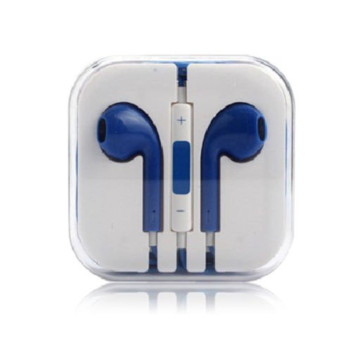 3.5mm Earphone Earbuds Headset HeadPhone w/ Remote Mic for iPhone 5 5S 5C 4G 4S (COLOR  BLUE