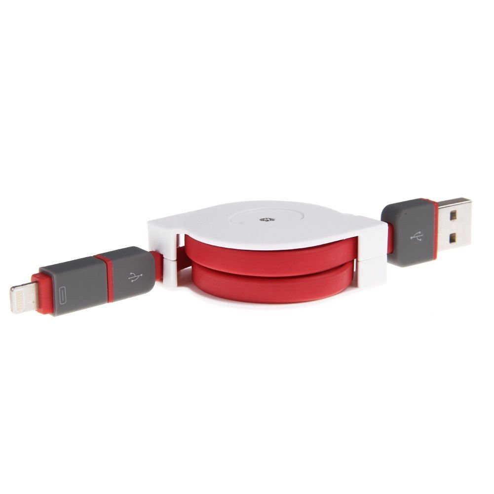 Retractable 2in1 Micro USB Data Sync Charger Cable for iPhone 6 5 5S Samsung HTC ( COLOR red