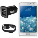 Micro USB Data Cable Cord + Car Charger Adapter fr Samsung Galaxy Note Edge N915