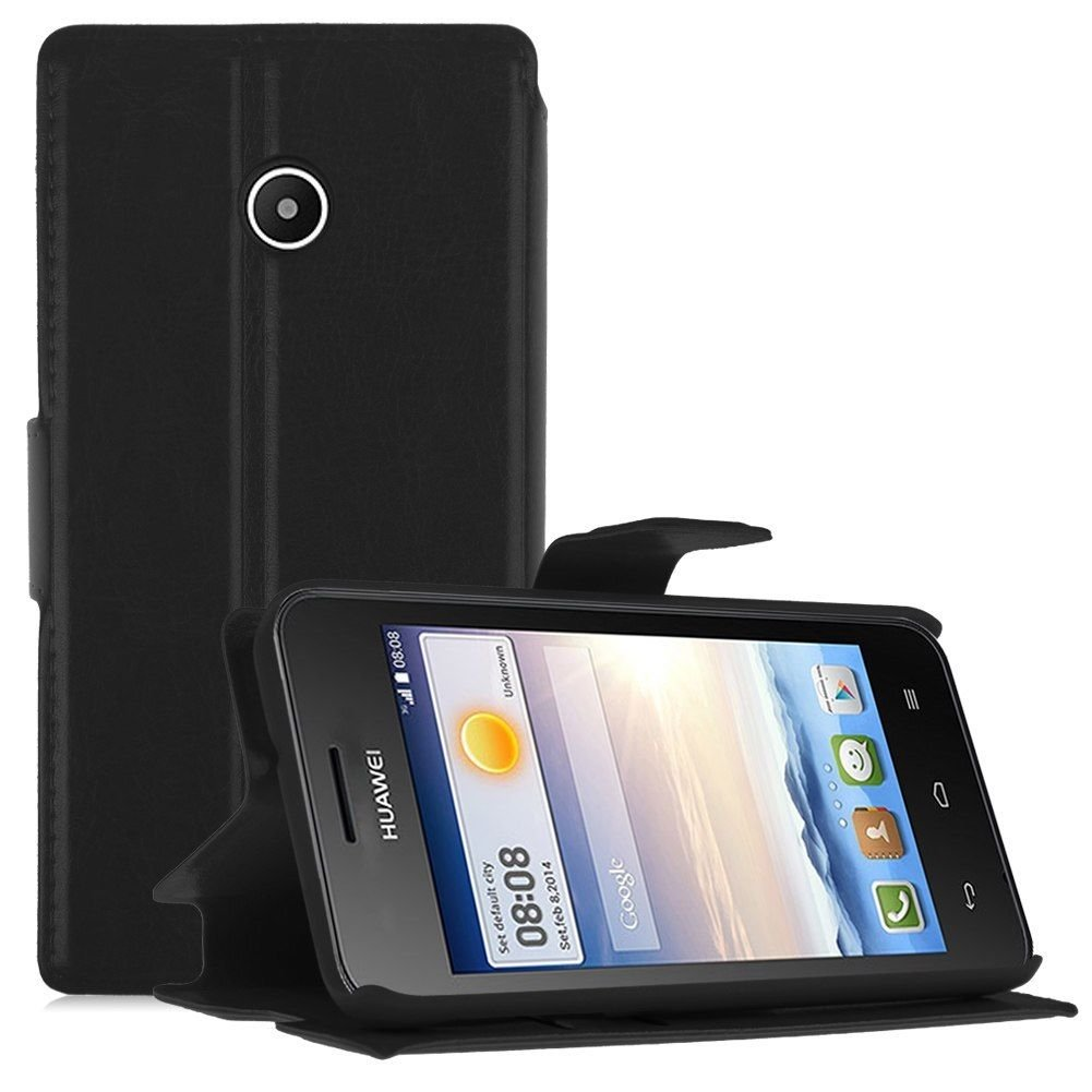 Wallet Card Holder Flip PU Leather Stand Case Cover Pouch for Huawei Ascend Y330 ( COLOR BLACK