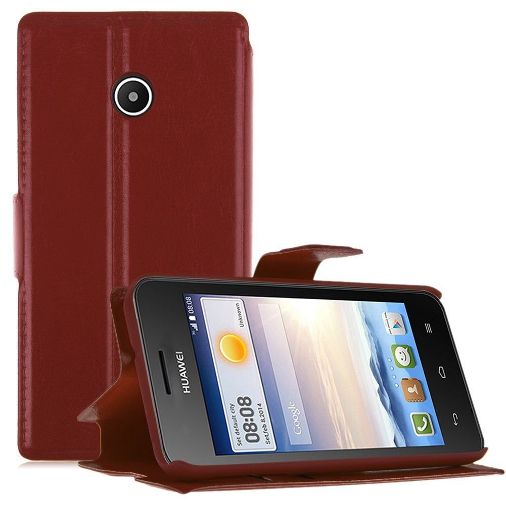 Wallet Card Holder Flip PU Leather Stand Case Cover Pouch for Huawei Ascend Y330 ( COLOR BROWN